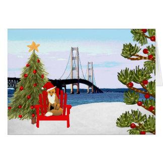 Tarjeta de Navidad del puente de Mackinac con la
