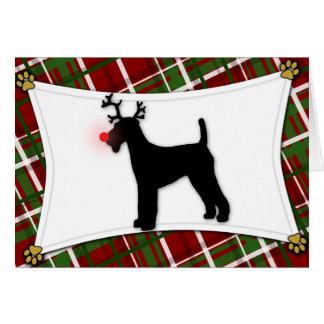 Tarjeta de Navidad del reno de Airedale Terrier