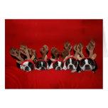 Tarjeta de Navidad del reno de Boston Terrier