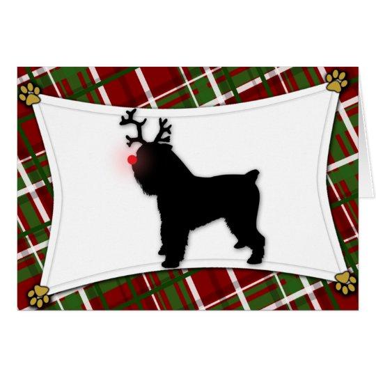 Tarjeta de Navidad del reno de Bruselas Griffon