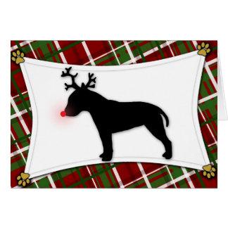 Tarjeta de Navidad del reno de bull terrier