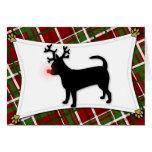 Tarjeta de Navidad del reno de la chihuahua