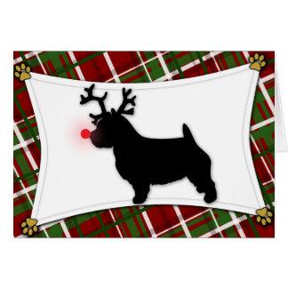 Tarjeta de Navidad del reno de Norwich Terrier