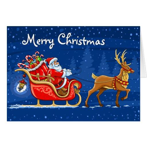 Tarjeta de Navidad del reno de Papá Noel
