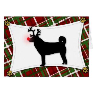 Tarjeta de Navidad del reno de Shiba Inu