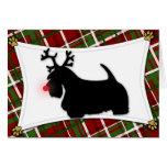 Tarjeta de Navidad del reno de Terrier del escocés