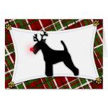 Tarjeta de Navidad del reno de Terrier galés