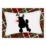 Tarjeta de Navidad del reno del caniche