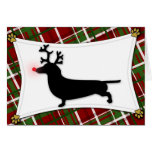 Tarjeta de Navidad del reno del Dachshund