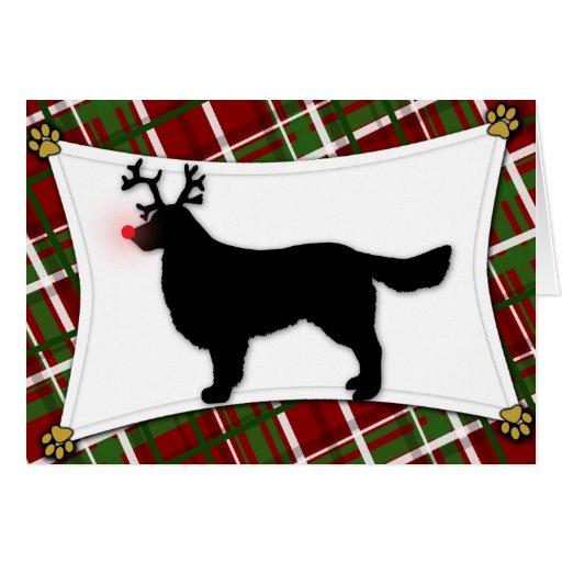 Tarjeta de Navidad del reno del golden retriever