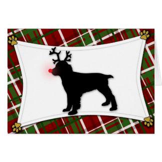 Tarjeta de Navidad del reno del perro de aguas de