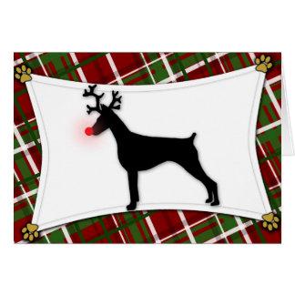 Tarjeta de Navidad del reno del Pinscher del Dober