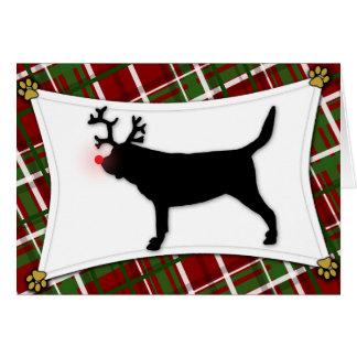 Tarjeta de Navidad del reno del sabueso