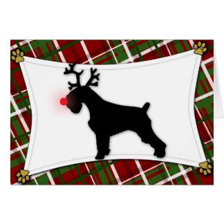 Tarjeta de Navidad del reno del Schnauzer