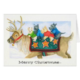 Tarjeta de Navidad del reno y de los terrieres