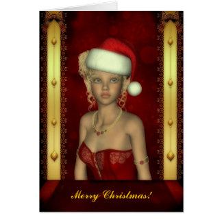 Tarjeta de Navidad del retrato del duende del bebé