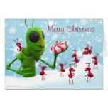 Tarjeta de Navidad del saltamontes y de las hormig