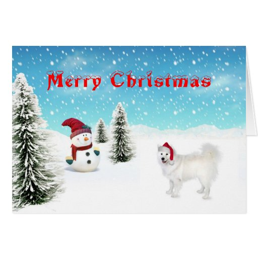 Tarjeta de Navidad del samoyedo