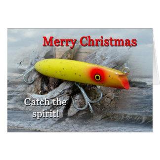 Tarjeta de Navidad del señuelo de la pesca del agu