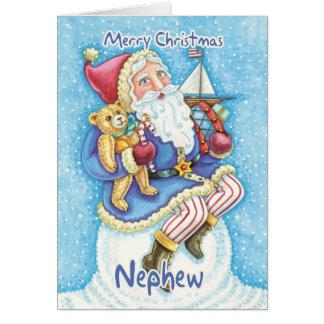 Tarjeta de Navidad del sobrino con Santa y los jug