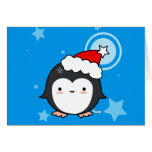 Tarjeta de Navidad del soplo del pingüino