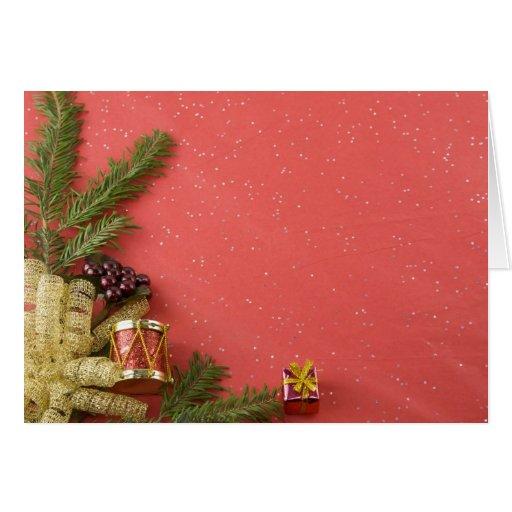 tarjeta de Navidad del tambor y del ornamento del