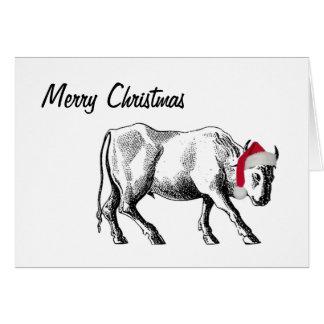 Tarjeta de Navidad del tauro con el texto