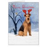 tarjeta de Navidad del terrier del airedale - el a
