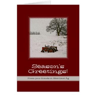 Tarjeta de Navidad del tractor: Añada su nombre co