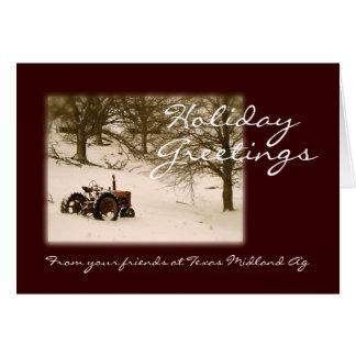 Tarjeta de Navidad del tractor para el negocio o l