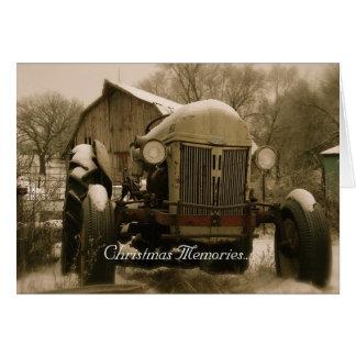 Tarjeta de Navidad del tractor: Viejas memorias de