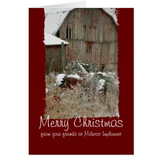 Tarjeta de Navidad del tractor y del granero