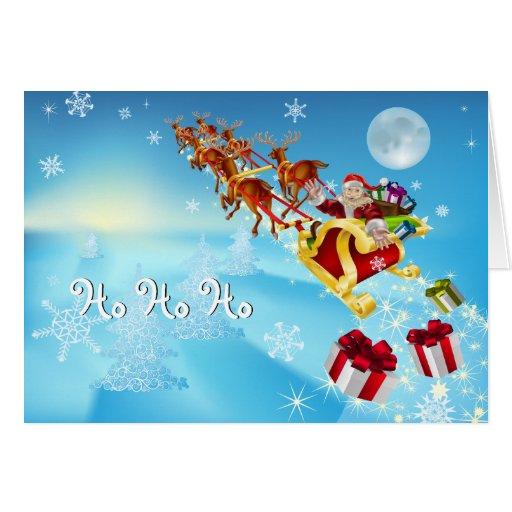 Tarjeta de Navidad del trineo de Santa