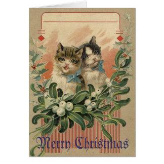 Tarjeta de Navidad del Victorian del gatito