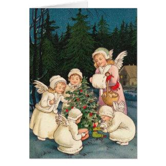 Tarjeta de Navidad del Victorian - pequeños ángele