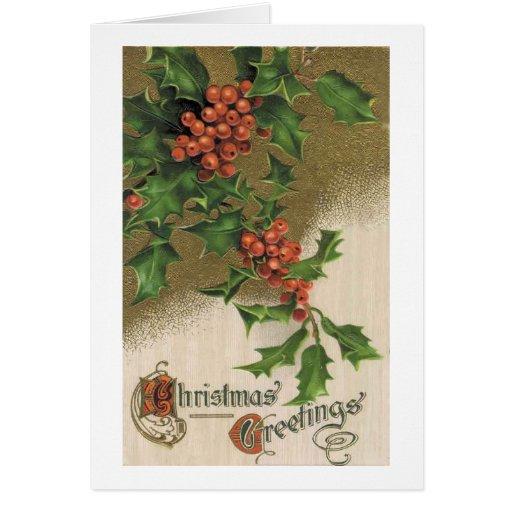 Tarjeta de Navidad del vintage - acebo del Victori