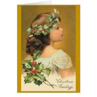 Tarjeta de Navidad del vintage con el chica del Vi