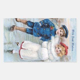 Tarjeta de Navidad del vintage con el patinaje de Rectangular Pegatina