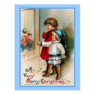 Tarjeta de Navidad del vintage de las compras de Postal