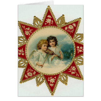 Tarjeta de Navidad del vintage de los ángeles