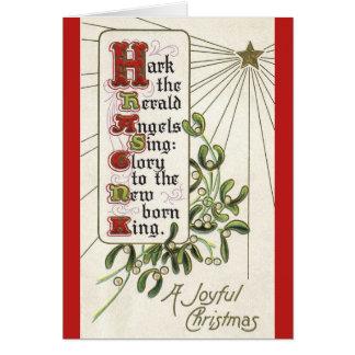 Tarjeta de Navidad del vintage de los ángeles de H