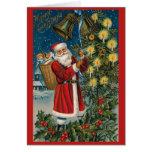 Tarjeta de Navidad del vintage de Santa Belces