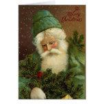 Tarjeta de Navidad del vintage de Santa del alemán