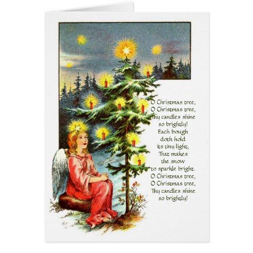 Tarjeta de Navidad del vintage del árbol de navida
