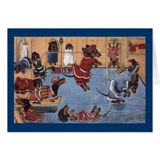 Tarjeta de Navidad del vintage del Dachshund