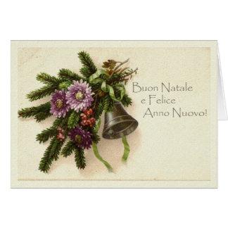Tarjeta de Navidad del vintage en italiano