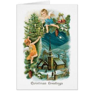 Tarjeta de Navidad del vintage - saludos del navid