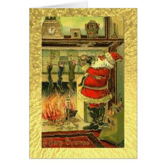 Tarjeta de Navidad del vintage - Santa, medias