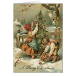 Tarjeta de Navidad del vintage - tarjeta muy dulce
