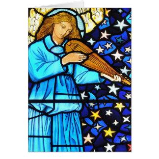 Tarjeta de Navidad del vitral de William Morris